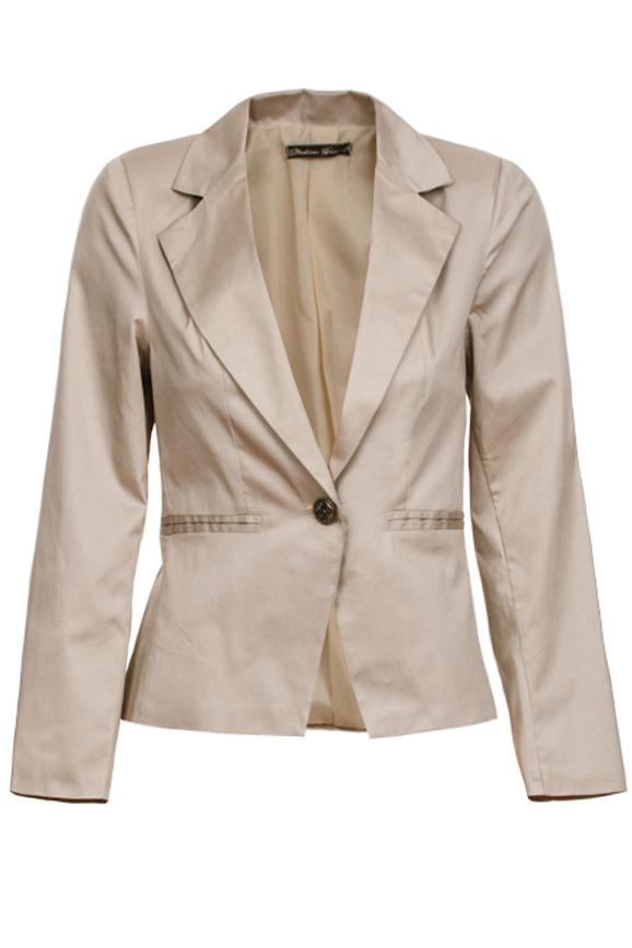 eleganter damen business blazer casual freizeitblazer jacke beige 38 40 ebay. Black Bedroom Furniture Sets. Home Design Ideas