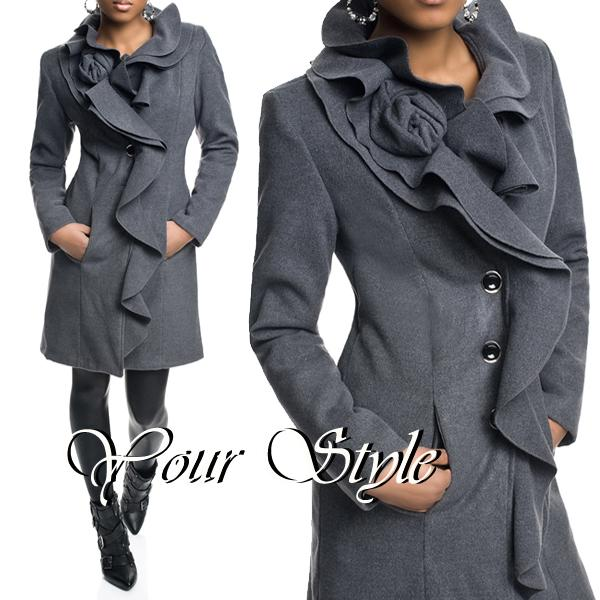 damen winter volant jacke volant mantel wollmantel wolljacke xs s m l xl ebay. Black Bedroom Furniture Sets. Home Design Ideas