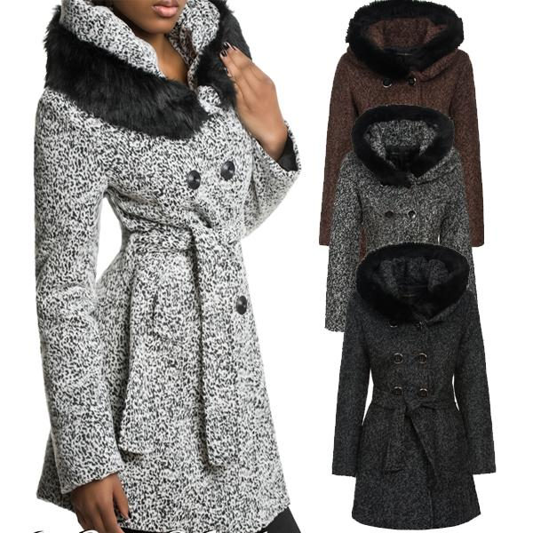 neu luxus damen winter wollmantel wolljacke mantel jacke fellkapuze xs s m l xl ebay. Black Bedroom Furniture Sets. Home Design Ideas
