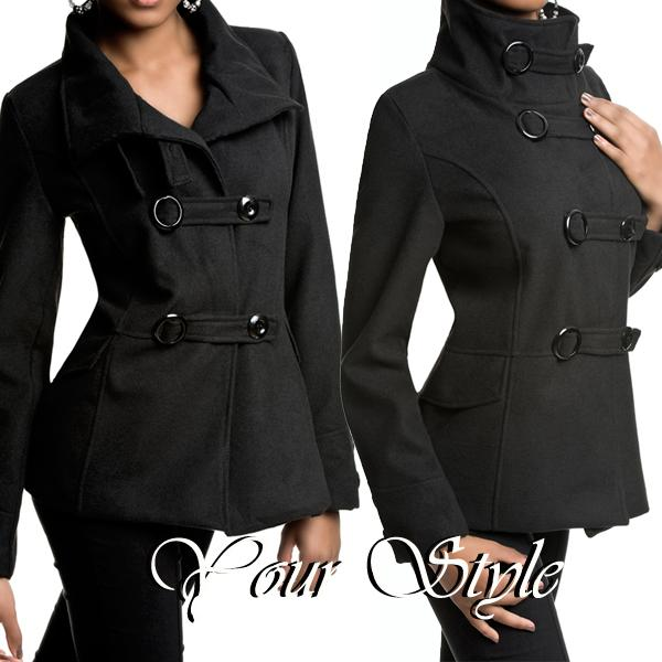 damen winter jacke wolljacke mantel military ebay. Black Bedroom Furniture Sets. Home Design Ideas