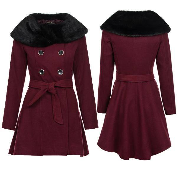 damen felljacke winter jacke fleece mantel mit pelz kleine schleppe bordeaux 34 ebay. Black Bedroom Furniture Sets. Home Design Ideas
