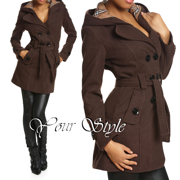damen winter jacke wolljacke woll mantel trenchcoat kapuze xs s m l xl xxl ebay. Black Bedroom Furniture Sets. Home Design Ideas